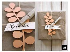 cad cut + clothespin gift wrapping