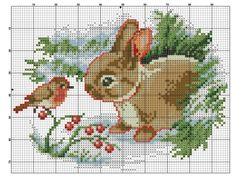 The Bird & The Bunny [Cross Stitch - Winter - Animals] [Chart / Pattern]