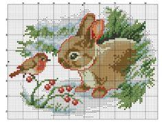 The Bird & The Bunny [Cross Stitch - Winter - Animals] [Chart / Pattern]