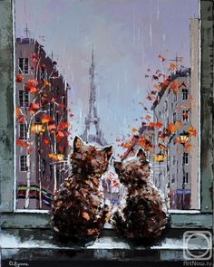 Painting «Not titled Art And Illustration, Illustrations, Cat Drawing, Painting & Drawing, Image Chat, Russian Art, Wildlife Art, Cat Art, Painting Inspiration