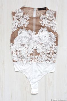 Sexy Sheer Mesh Floral Lace Bodysuit-White & Nude
