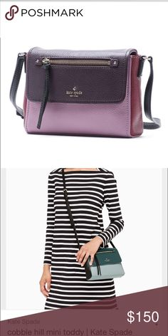 Kate Spade cross-body Like new only carries for a month. Will post more pics soon! The actual color is the first pic (purple&pink) the second pic is the same purse but different color. kate spade Bags Crossbody Bags