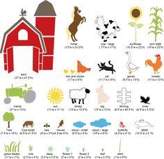 Stencils for farm mural
