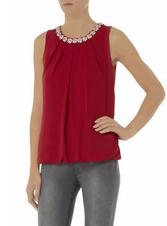 Cherry red daisy embellished bubble top