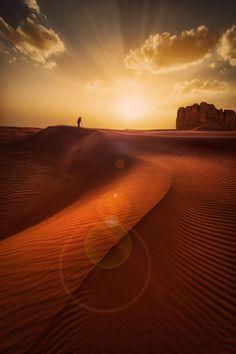 solo man desert light orange nature