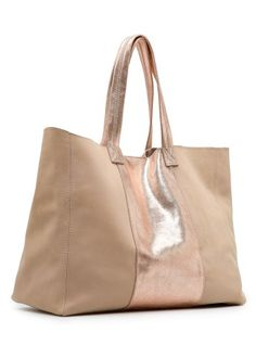 MANGO - BAGS - TOUCH - Leather shopper with metallic panel