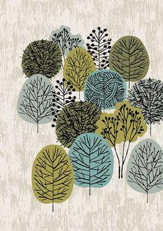 Jadore les arbres et forêts et essaie toujours de capturer quelque chose de leur essence dans un imprimé. « Petit bois » sont ma dernière création,