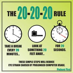 Living in a world of computers, smart phones, and tablets causes many people to experience digital eye strain. Symptoms of eyestrain include sore, tired eyes; watery or dry eyes; blurred vision; headache; difficulty focusing; and sore neck, back, and shoulders. You can help prevent digital eyestrain by following the 20-20-20 rule and giving your eyes a break.