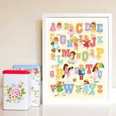 Alphabet Poster for Girls Print in Girly Colours. Alphabet Birthday Parties, Alphabet Party, Alphabet Print, Abc Poster, Poster Prints, Shabby Chic Girl Room, Nursery Wall Art, Bedroom Wall, Girls Bedroom
