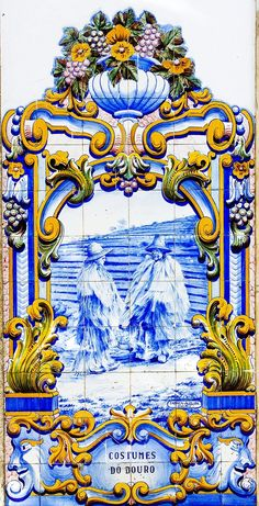 Traditional blue tiles (Azulejos) showing the work related with the Port Wine. Railway station of Pinhão, Douro region. A Unesco World Heritage Site, Portugal Tile Murals, Tile Art, Mosaic Art, Portuguese Culture, Portuguese Tiles, Portuguese Phrases, Visit Portugal, Lisbon Portugal, Cute Christmas Wallpaper