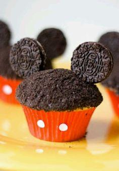 MICKEY CUPCAKES chocolate sprinkles and mini oreos