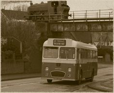 Preserved PMT bus meets ghost of a Florence Colliery Bagnall saddletank