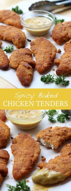Spicy Baked Chicken Tenders Juicy, moist chicken tenders coated with crispy breading mixed with delicious spices. Omit ONE ingredient to make it non-spicy! And dangerously tasty! Spicy Baked Chicken, Moist Chicken, Chicken Tender Recipes, Spicy Recipes, Cooking Recipes, Baked Breaded Chicken Tenders, Baked Chicken Strips, Good Food, Yummy Food