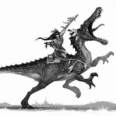 Suchomimus and native american woman