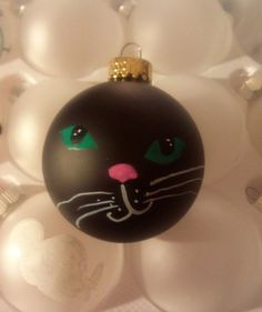 Hand-painted Cat Ornament Black, White, Brown, Orange Personalized
