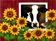 """Cow,Bird and Sunflowers,"" Stephanie Stouffer"