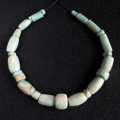 Ancient AMAZONITE BEADS strand. MAURITANIA
