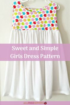 Sweet and simple girl dress pattern will save you money on clothes for your girl. Sewing Patterns Girls, Little Girl Dress Patterns, Toddler Dress Patterns, Sewing For Kids, Free Sewing, Girls Skirt Patterns, Peasant Dress Patterns, Pattern Sewing, Coat Patterns