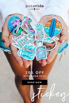 Shop Accessories at Pura Vida. Laptop Stickers, Cute Stickers, Purvida Bracelets, Vsco, Cute Car Accessories, New Sticker, Sticker Ideas, Tumblr Stickers, Cute Cars