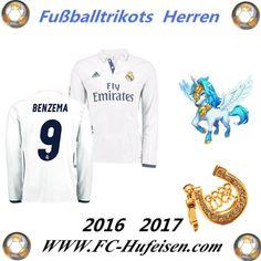 Neue Fussball Trikots Real Madrid Weiß Lange Ärmel (BENZEMA 9) Heim Saison 2016 2017 Billig