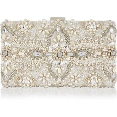 Monsoon Aimee Embellished Bridal Box Clutch Bag ($122) ❤ liked on Polyvore featuring bags, handbags, clutches, beaded handbag, white beaded purse, embellished purses, white clutches and white purse