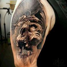 Greek warrior tattoo by Arlo DiCristina Skull Tattoo Design, Skull Tattoos, Life Tattoos, Body Art Tattoos, Sleeve Tattoos, Tattoo Designs, Tattoo Sleeves, Zeus Tattoo, Arlo Tattoo