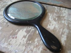 Antique wood handle hand mirror. Beveled by MysteryMisterAntique
