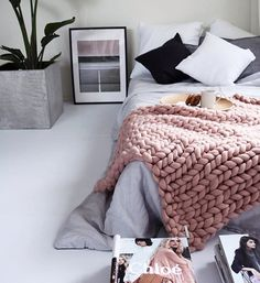 Soft yet sophisticated pink and gray bedroom.