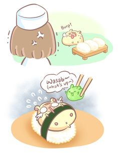 Sashimi Sushi, Episode 12 of Hammu in WEBTOON. Hammu is a gourmet hamster who sees the world especially delicious food in a very special way. Cute Food Drawings, Cute Kawaii Drawings, Kawaii Art, Kawaii Anime, Easy Food Art, Cute Food Art, Cute Art, Cute Wallpaper Backgrounds, Cute Wallpapers