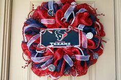 Deluxe Deco Mesh Houston TEXANS Wreath. $125.00, via Etsy.