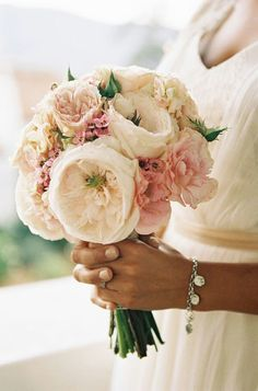 Ivory Cabbage Roses, Cream Garden Roses, Pastel Pink Lisianthus, Pink Wax Flower, Bud Stage Spray Roses···