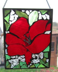REDFlower  Mosaic Stained Glass SunCatcher or wall by HildeMosaics, $25.00