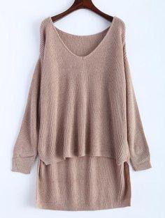 #Zaful - #Zaful V Neck High Low Oversized Sweater - AdoreWe.com