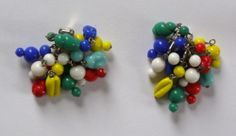 Vintage Clip on Japanese Glass Bead Cluster Earrings Mixed Colors Beads Beaded | eBay
