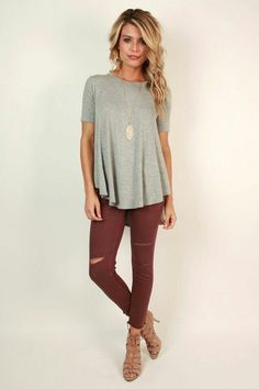 Love the shirt, necklace and burgundy denim (may no rips so I could wear it to work). Not sure I would wear the shoes.