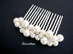 Wedding hair comb Pearl fascinator Ivory hair pin by Element4you, $22.50