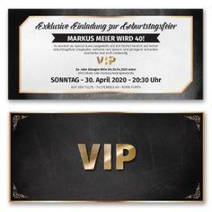 Die goldene VIP Karte passend auch für Ihre Feier! https://www.gestaltenlassen.com/einladungskarten-als-vip-ticket.html