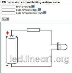 LED Resistor Calculator - Homemade LED resistor calculator used for determining resistor values for an LED light.