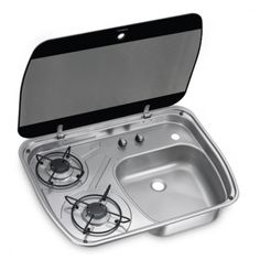 Buy a Dometic Smev 8322 - 2 Burner Hob & Sink Combination Unit, ideal for your campervan, motorhome or caravan. Truck Bed Camper, Truck Camping, Camping Trailers, Minivan Camping, Travel Trailers, Van Conversion Interior, Camper Conversion, Motorhome, Caravan Sink