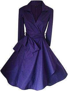 Look For The Stars Women's Length Sleeves Style Rockabilly Dress Cadbury Purple) Retro Mode, Vintage Mode, Vintage Tea, Vintage 1950s Dresses, Retro Dress, Jupe Swing, Swing Dress, Retro Fashion, Vintage Fashion