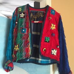 Jacket Short cotton artistic multicolored jacket with fringe and buttons Crystal Jackets & Coats Blazers