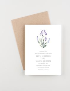 Lavender Fields Save The Date, Watercolor Botanical Illustration, Purple and Green, Wedding Announcement by seahorsebendpress on Etsy