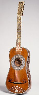 1670 Guitar: The guitar was just coming into vogue in the 17th century as a popular instrument for solo accompaniment. The music it created was bolder than that of the lute, in large part because its chords produced a resonance not possible on the lute.