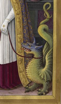 Dragon detail from Grandes Heures of Anne of Brittany /Les Grandes Heures d'Anne de Bretagne, 1503-1508. Manuscript, illuminated by Jean Bourdichon Via Gallica.bnf.fr