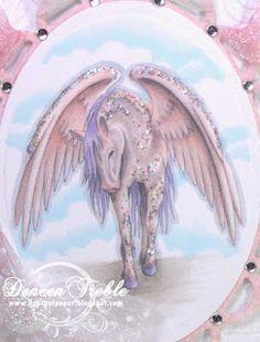 Mythical Pegasus for TTT  Copics Used:  Pegasus - R000, R00, BV31  Sky - BG0000  Ground - W1, W3  Outline - C1