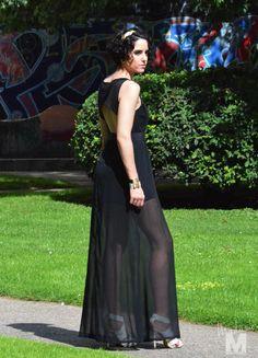 long black dress madame magenta vestido negro largo transparente bolso tachuelas studded clutch