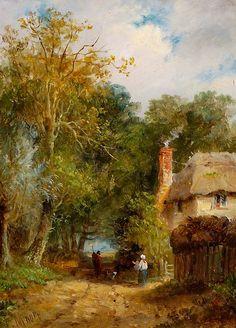 Lane and Cottage, Wherstead Road, Ipswich John Moore of Ipswich Cottage Garden Design, Cottage Art, Amazing Paintings, Amazing Art, Landscape Art, Landscape Paintings, Classic Portraits, Artist Aesthetic, Farm Art
