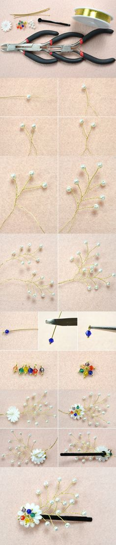 Tutorial on How to Make Floral Hair Clips with Wires and Beads from LC.Pandahall.com   #pandahall