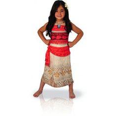 Ce costume de la princesse Disney™ Vaiana™ se compose d'une robe et d'une fleur. Il est disponible en tailles S, M ou L. Dans le dessin animé, la tenue de la princesse se compose d'un bustier laissant entrevoir le ventre et d'une jupe. Ici, il s'agit d'un