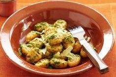 Sweet potato gnocchi with basil pesto